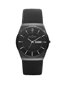 skagen Skagen Skagen Black Daydate Dial Black Leather Strap Mens Watch Picture