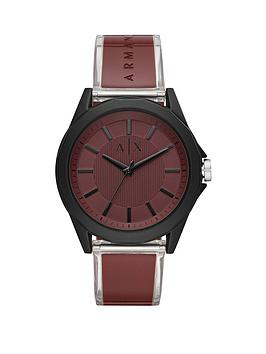 Armani Exchange Armani Exchange Red And Black Detail Dial Red Leather Strap Mens Watch