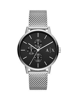 Armani Exchange Armani Exchange Black Textured Dial Stainless Steel Mesh Strap Watch