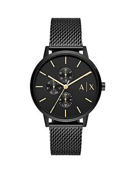 Armani Exchange   Black Textured Dial Black Ip Stainless Steel Mesh Strap Watch