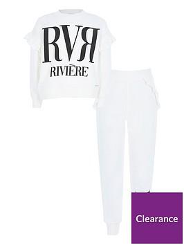 river-island-girls-slogan-ruffle-sweat-and-jogger-setnbsp-nbspcreamnbsp