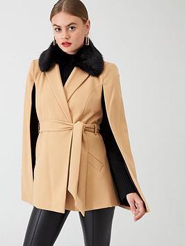 river-island-river-island-faux-fur-collar-belted-cape-jacket--beige