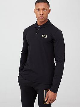 EA7 Emporio Armani Ea7 Emporio Armani Core Id Logo Long Sleeve Polo Shirt  ... Picture
