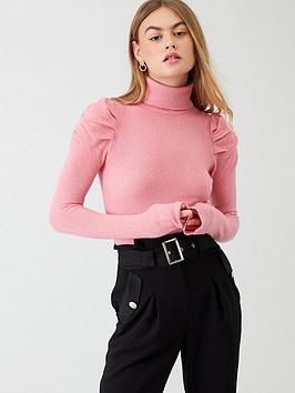 River Island River Island River Island Puff Sleeve Roll Neck Jumper- Pink Picture