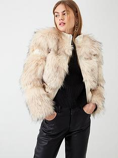 river-island-river-island-faux-fur-panelled-short-jacket--cream