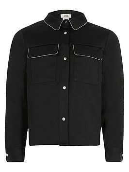 River Island River Island Girls Beaded Trim Long Sleeve Shirt - Black Picture