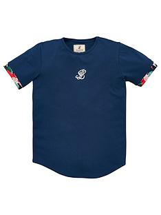 illusive-london-boys-contrast-cuff-short-sleeve-t-shirt-navy