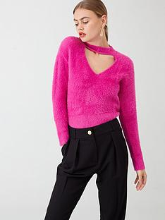 river-island-cut-out-fluffy-jumper--pink