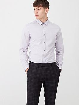 River Island River Island Light Grey Slim Fit Long Sleeve Shirt Picture