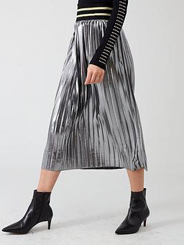 River Island River Island River Island Metallic Pleated Midi Skirt- Silver Picture