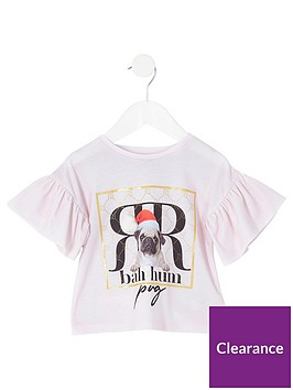 river-island-mini-mini-girls-bah-hum-pug-frill-sleeve-t-shirt-pink