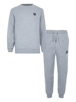 River Island River Island Boys Rvr Sweatshirt &Amp; Jog Pant Set - Grey Picture