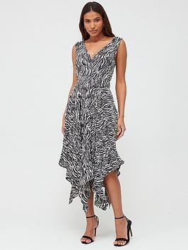 V by Very V By Very Pleat Skirt Midi Dress - Zebra Print Picture