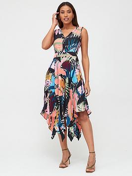 V by Very V By Very Pleat Skirt Midi Dress - Print Picture