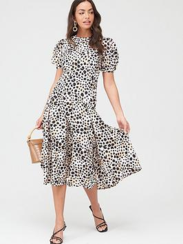 V by Very V By Very Printed Puff Sleeve Midi Dress - Animal Picture