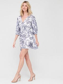 V by Very V By Very Woven Shirred Waist Wrap Mini Dress - Print Picture