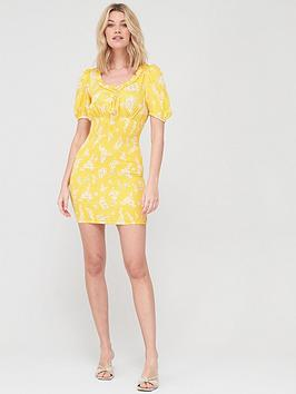 V by Very V By Very Round Neck Shirred Mini Dress - Yellow Floral Picture