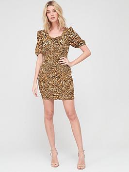V by Very V By Very Round Neck Shirred Mini Dress - Animal Print Picture