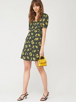 V by Very V By Very Printed Cotton Wrap Dress - Black Floral Picture