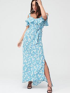 V by Very V By Very Cold Shoulder Cotton Maxi Dress - Blue Floral Picture