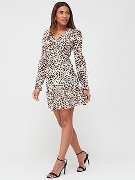 V by Very V By Very Georgette Twist Front Mini Dress -Print Picture