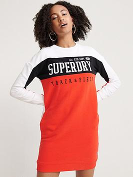 Superdry Superdry Panel Sleeve Sweat Dress - Red Picture