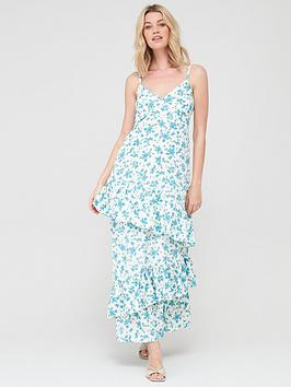 V by Very V By Very Tie Sleeve Tiered Midaxi Dress - Blue Floral Picture