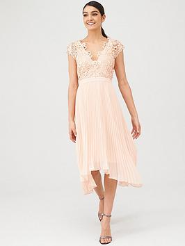 V by Very V By Very Bridesmaid Pleated Skirt Lace Top Midi Dress - Blush Picture