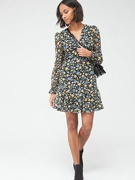 V by Very V By Very Woven Twist Front Mini Dress - Floral Picture