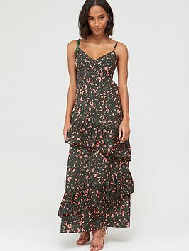 V By Very Tie Sleeve Tiered Midaxi Dress - Print