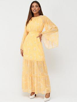 V by Very V By Very Shirred Waist Tiered Maxi Dress - Yellow Floral Picture