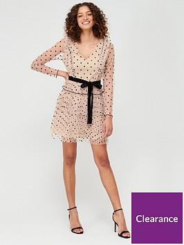 v-by-very-spotted-mesh-ruffle-tie-waist-mini-dress-nude