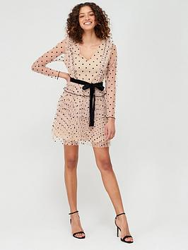 V by Very V By Very Spotted Mesh Ruffle Tie Waist Mini Dress - Nude Picture