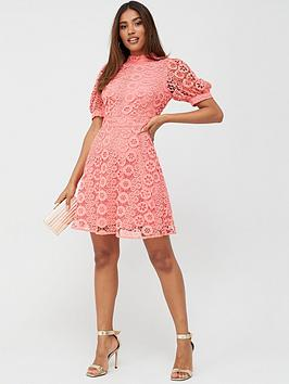 V by Very V By Very High Neck Blouson Sleeve Lace Skater Dress - Coral Picture