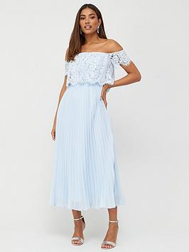 V by Very V By Very Lace Bardot Pleated Skirt Prom Dress - Blue Picture