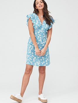 V by Very V By Very Cotton Frill Sleeve Mini Dress - Blue Floral Picture