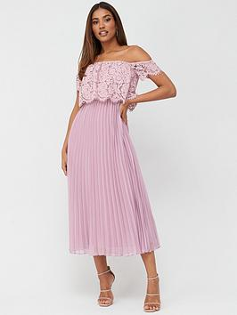 V by Very V By Very Lace Bardot Pleated Skirt Prom Dress - Mauve Picture