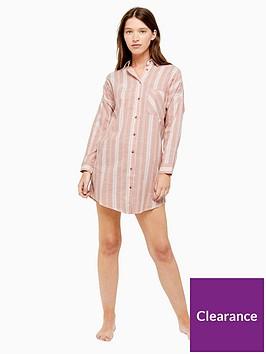 topshop-stripe-sleep-shirt-pink
