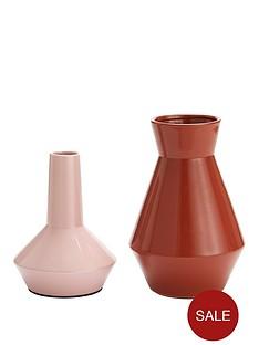 set-of-2-feature-vases-ndash-mauve-and-burnt-orange