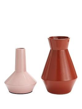 Very Set Of 2 Feature Vases &Ndash; Mauve And Burnt Orange Picture