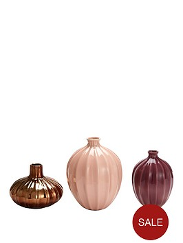 michelle-keegan-home-set-of-3-glazed-vases-ndash-pink-plum-and-gold
