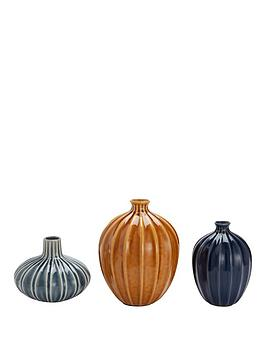 Very Set Of 3 Glazed Vases &Ndash; Ochre, Blue And Grey Picture