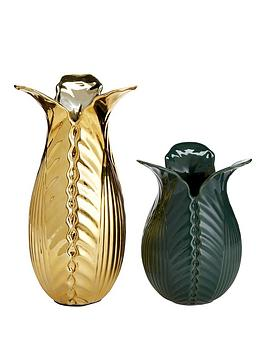 Very Set Of 2 Leaf Vases Picture