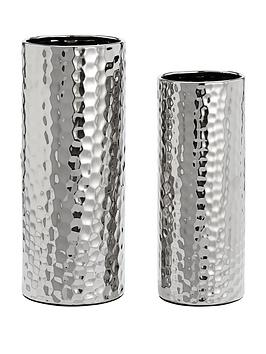 Very Set Of 2 Hammered Vases Picture