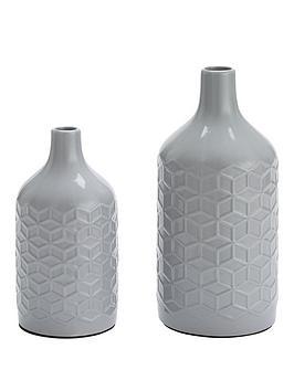 set-of-2-grey-faceted-vases