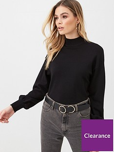 v-by-very-balloon-sleeve-grown-on-neck-jumper-black