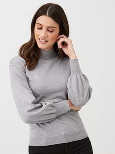 v-by-very-balloon-sleeve-grown-on-neck-jumper-grey-marl