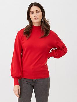 V by Very V By Very Balloon Sleeve Grown On Neck Jumper - Red Picture