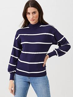 v-by-very-balloon-sleeve-grown-on-neck-jumper-stripe