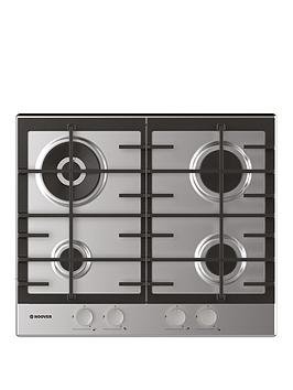 Hoover   H-Hob 300 Gas Hhg6Br4Mx 60Cm Gas Hob, 4 Burners, Front Control, Cast Iron Pan Supports - Stainless Steel - Hob Only